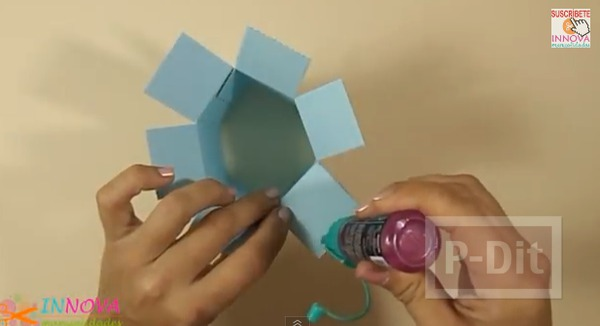 รูป 7 ทำที่ใส่ดินสอจากกระดาษลูกฟูก ทรงหกเหลี่ยม