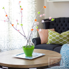 ดอกไม้กระดาษย่น ดอกเล็กๆ ประดับกิ่งไม้