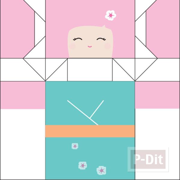 รูป 3 พับกระดาษ ตุ๊กตาญี่ปุ่นน่ารักๆ
