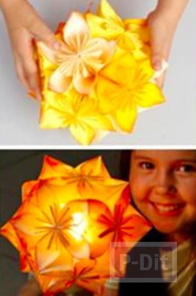 รูป 3 โคมไฟกระดาษ ดอกไม้