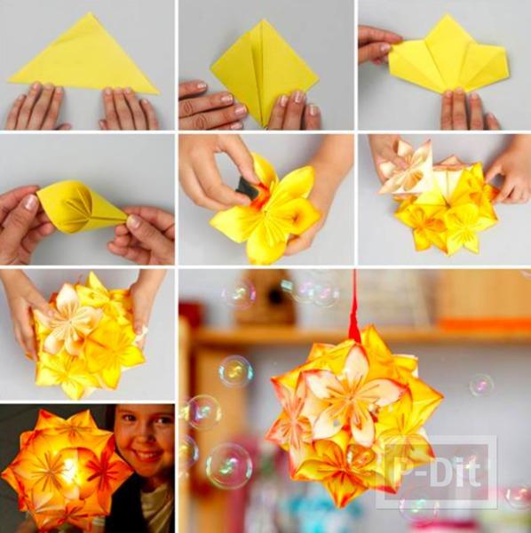 รูป 4 โคมไฟกระดาษ ดอกไม้