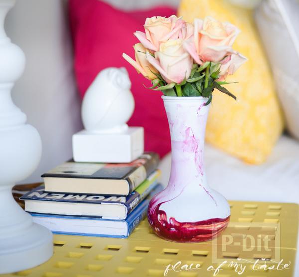 แจกันดอกไม้ ทาสีสวย สีทาเล็บผสมน้ำ