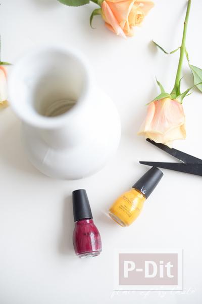 รูป 4 แจกันดอกไม้ ทาสีสวย สีทาเล็บผสมน้ำ