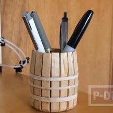 ทำที่ใส่ดินสอ ปากกา จากไม้หนีบผ้าแบบไม้