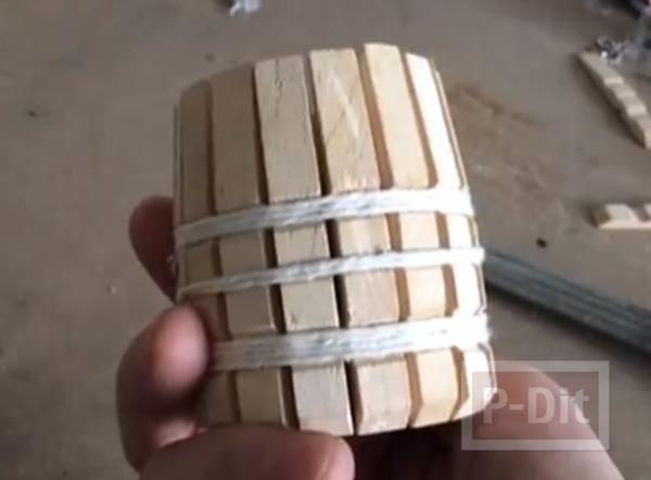 รูป 6 ทำที่ใส่ดินสอ ปากกา จากไม้หนีบผ้าแบบไม้