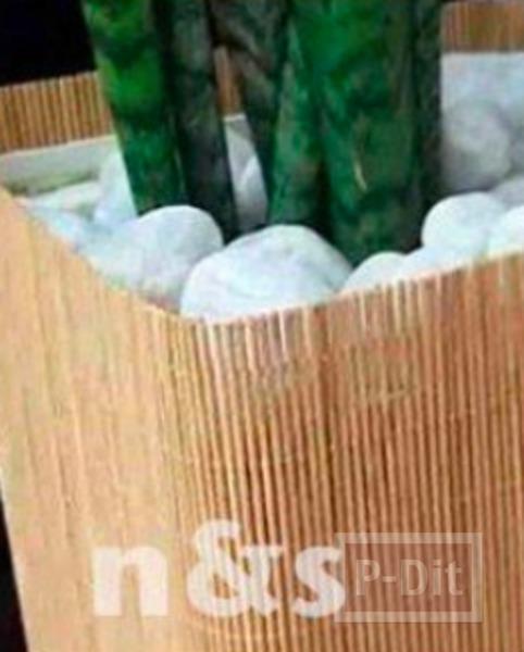 รูป 4 ไอเดียทำกระถางต้นไม้ จากกระป๋องเก่าๆหุ้มเสื่อผืนเล็กๆ