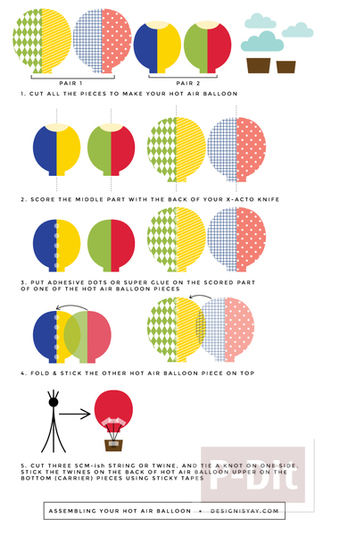 รูป 7 บอลลูนกระดาษสวยๆ ประดับการ์ด ประดับบอร์ด