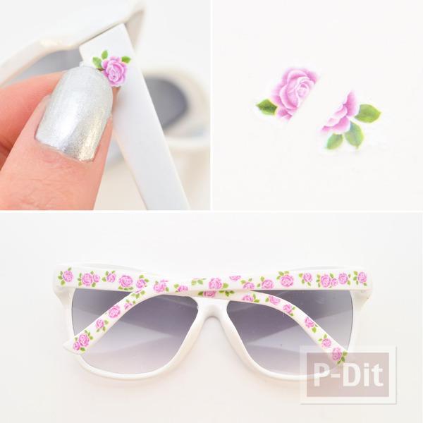 รูป 3 แว่นตากันแดด ตกแต่งลายดอกไม้ ดอกเล็ก