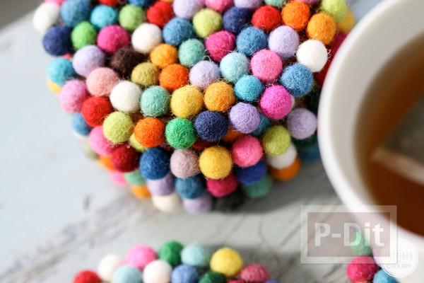 รูป 6 จานรองแก้ว ตกแต่งด้วยลูกบอลเล็กๆ หลากสี