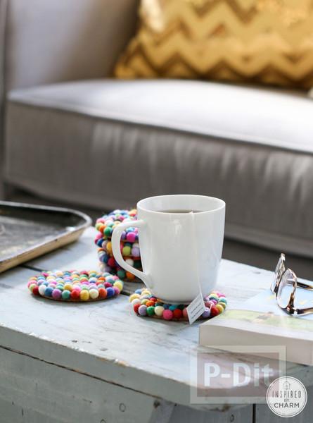 รูป 7 จานรองแก้ว ตกแต่งด้วยลูกบอลเล็กๆ หลากสี