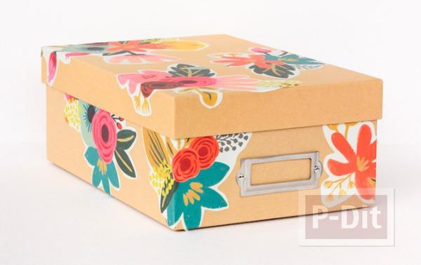 ตกแต่งกล่อง ด้วยผ้า ประดับลายดอกไม้
