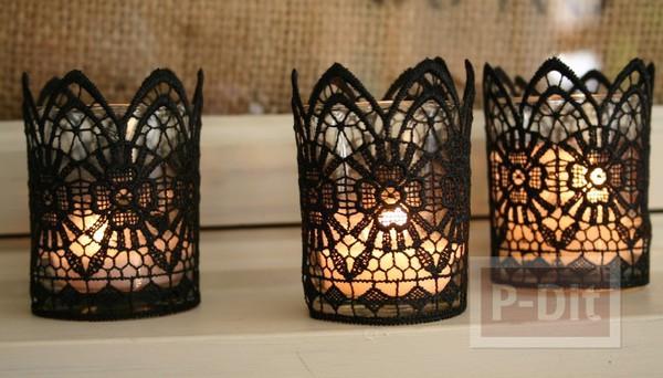 แก้วเทียนไข ตกแต่งลายสวย ด้วยผ้าลูกไม้