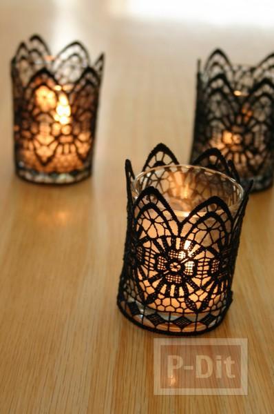 รูป 2 แก้วเทียนไข ตกแต่งลายสวย ด้วยผ้าลูกไม้