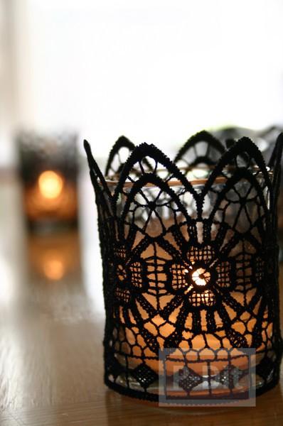 รูป 3 แก้วเทียนไข ตกแต่งลายสวย ด้วยผ้าลูกไม้