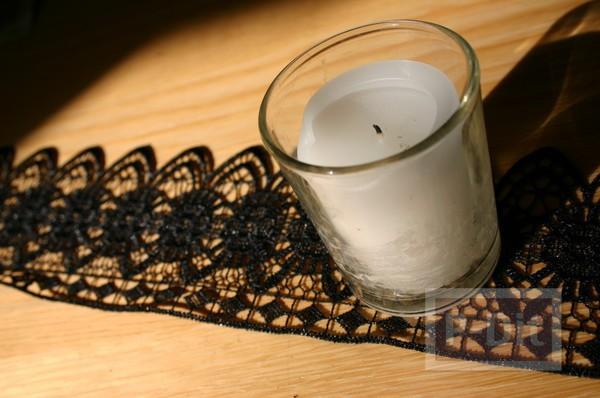 รูป 4 แก้วเทียนไข ตกแต่งลายสวย ด้วยผ้าลูกไม้