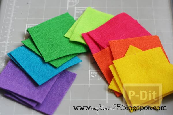 รูป 2 กิ๊บติดผม ประดับ กังหันสีสด ทำจากผ้า