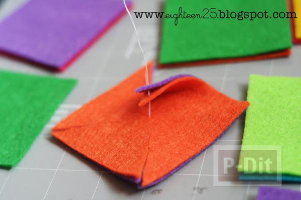 รูป 3 กิ๊บติดผม ประดับ กังหันสีสด ทำจากผ้า