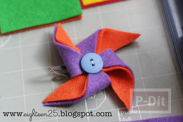 รูป 5 กิ๊บติดผม ประดับ กังหันสีสด ทำจากผ้า