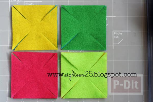 รูป 6 กิ๊บติดผม ประดับ กังหันสีสด ทำจากผ้า