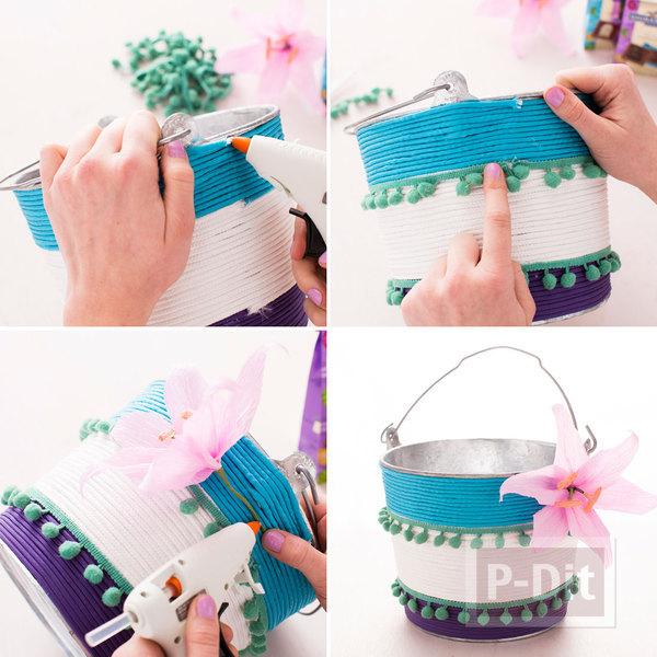 รูป 3 ไอเดียตกแต่งกระป๋องของขวัญ ด้วยเชือกสีสด