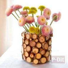 สอนตกแต่งกระป๋อง จากกิ่งไม้ ทำเป็นแจกันดอกไม้
