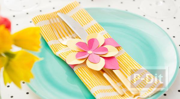 รูป 1 สอนทำรัดช้อนส้อม ด้วยกระดาษลายสวย รูปดอกไม้