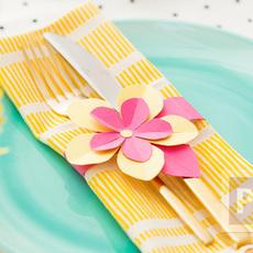 สอนทำรัดช้อนส้อม ด้วยกระดาษลายสวย รูปดอกไม้