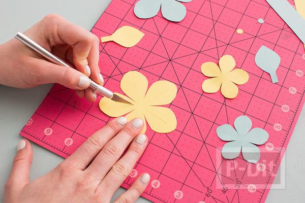 รูป 6 สอนทำรัดช้อนส้อม ด้วยกระดาษลายสวย รูปดอกไม้