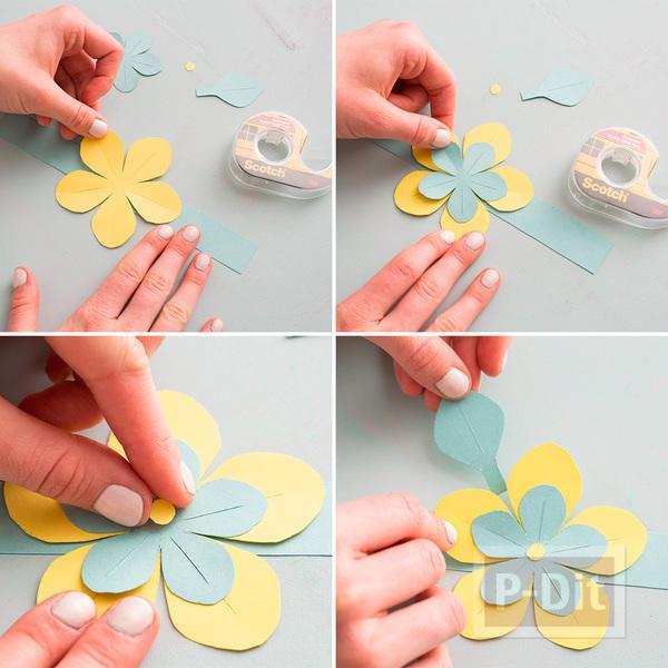 รูป 7 สอนทำรัดช้อนส้อม ด้วยกระดาษลายสวย รูปดอกไม้