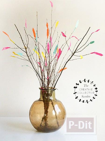 แจกันประดับดอกไม้ ทำจากสก็อตเทปสีสด
