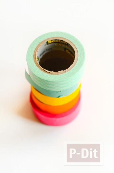 รูป 3 แจกันประดับดอกไม้ ทำจากสก็อตเทปสีสด
