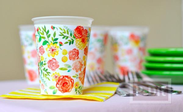กระดาษห่อแก้วกาแฟ ลายดอก หลากสี
