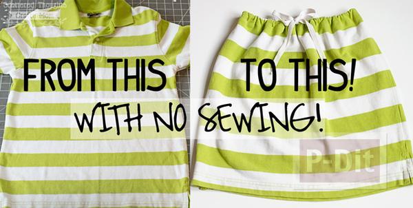 กระโปรงสวยๆ ทำจากเสื้อยืด