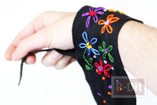 รูป 7 สอนทำที่ใส่ข้อมือ ประดับลายดอก สีสด