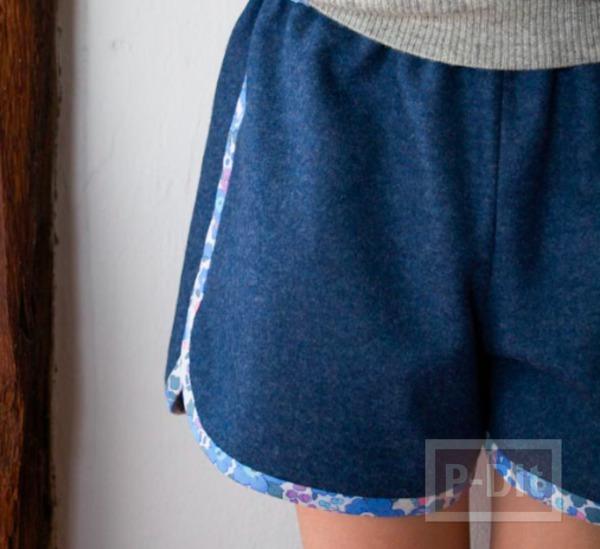 เย็บกางเกงสวยๆ ขลิบลายดอก