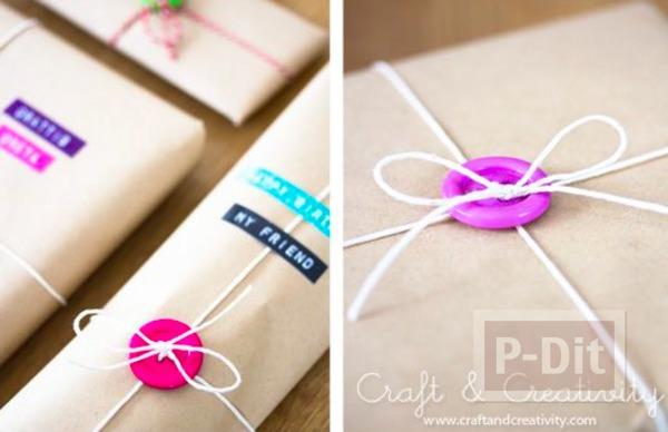ห่อกล่องของขวัญสวยๆ ด้วยกระดุมกับเชือก