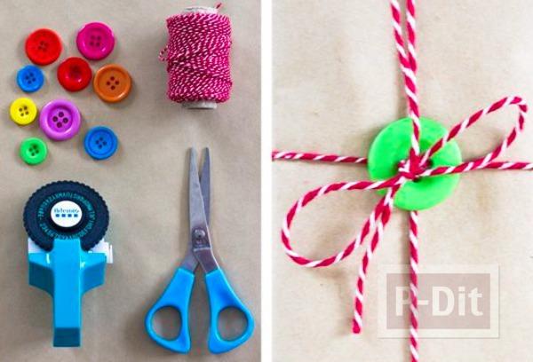 รูป 2 ห่อกล่องของขวัญสวยๆ ด้วยกระดุมกับเชือก