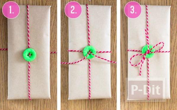 รูป 3 ห่อกล่องของขวัญสวยๆ ด้วยกระดุมกับเชือก
