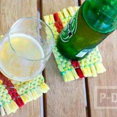 จานรองแก้ว ทำจากผ้ายืดสีสวย ติดกระดาษ