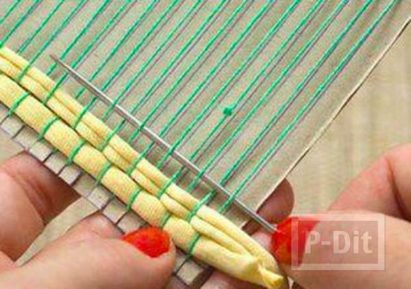 รูป 6 จานรองแก้ว ทำจากผ้ายืดสีสวย ติดกระดาษ