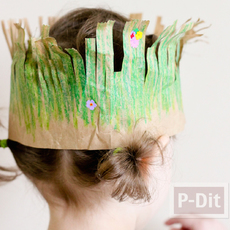 ทำหมวกจากถุงกระดาษ ระบายสีเทียน