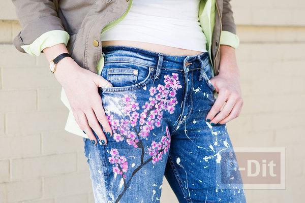 กางเกงยีนส์ ตกแต่ง ระบายสี ลายดอกไม้น่ารักๆ