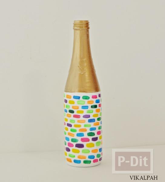 รูป 7 แจกันลายสวย ทำจากขวดแก้ว