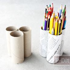 ทำที่ใส่ดินสอ จากแกนกระดาษทิชชู