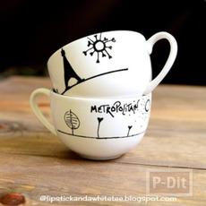 ตกแต่งลายแก้วกาแฟ ด้วยสีเมจิก