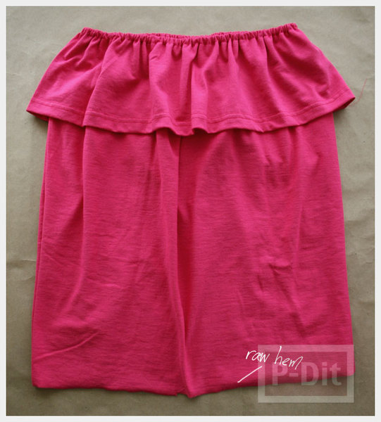 รูป 4 เย็บเสื้อเกาะอก จากเสื้อยืด สีสดใส