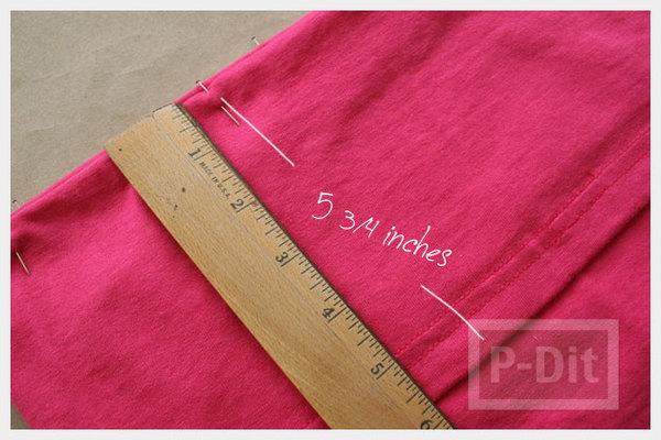 รูป 6 เย็บเสื้อเกาะอก จากเสื้อยืด สีสดใส