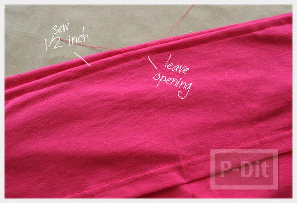 รูป 7 เย็บเสื้อเกาะอก จากเสื้อยืด สีสดใส