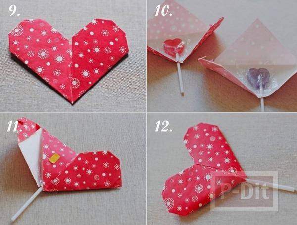 รูป 4 สอนทำที่ใช้อมยิ้ม รูปหัวใจกระดาษ