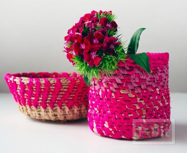 ตะกร้าใส่ดอกไม้ ทำจากเชือกสีสวย